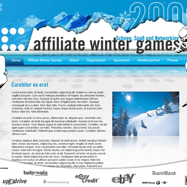 Affiliate Winter Games Landing Page