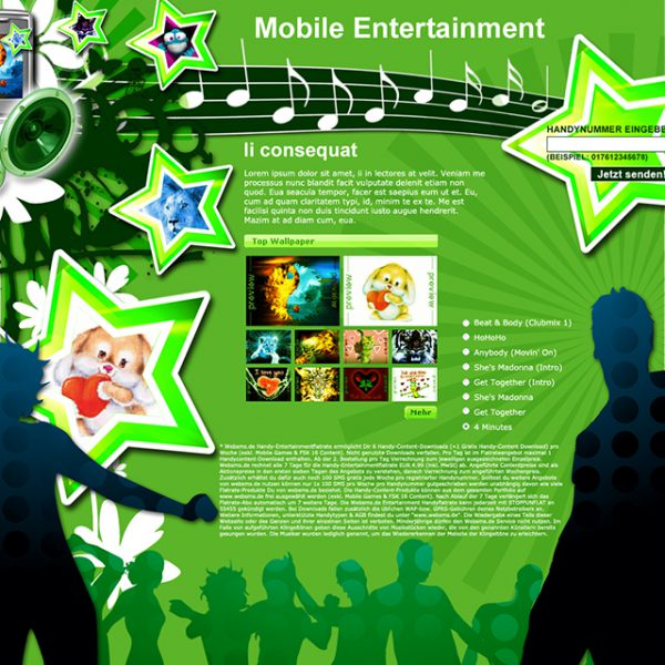 Mobile Entertainment Landing Page