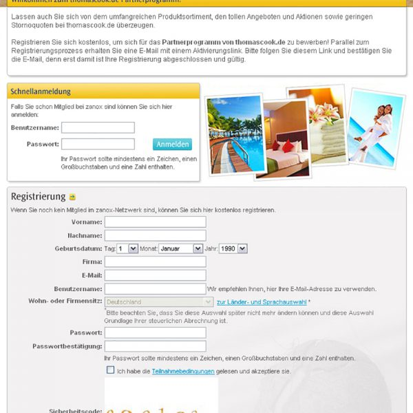 Thomas Cook Website